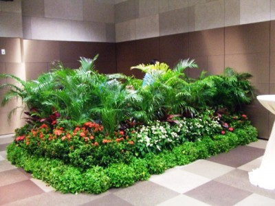Landscaping With Fake Grass And Plants Indoor Decoration
